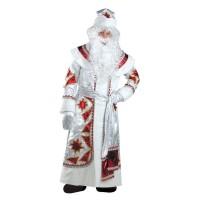 """Карнавальный костюм """"Дед Мороз"""" серебряно-красный для взрослых арт.161 р.54-56"""