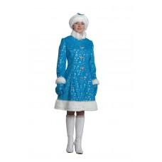 """Карнавальный костюм """"Снегурочка плюш"""" для взрослых арт.186"""