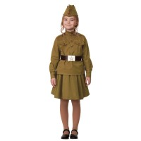 """Карнавальный костюм """"Солдатка"""" (хлопок) хаки арт.8009-3"""