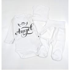 Комплект детский (боди, ползунки, шапочка) арт. 33-118 белый ангел