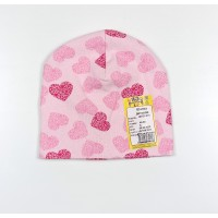 Шапка детская арт. ШП21-014 розовая в сердечки