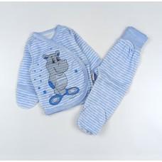 Комплект детский (распашонка, ползунки) арт. КЛ.330.024.0.135.006 голубой бегемот