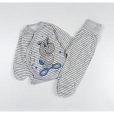 Комплект детский (распашонка, ползунки) арт. КЛ.330.024.0.135.006 серый бегемот