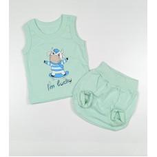 Комплект детский (майка, трусы на памперс) арт. КЛ.334.005.0.250.011 бирюзовый