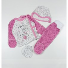 Комплект детский (распашонка, ползунки, чепчик, царапки) арт. КЛ.330.501.0.122.012 розовый