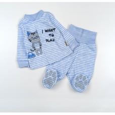 Комплект детский (кофточка, ползунки) арт. КЛ.330.011.0.126.006 голубой в полоску