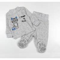 Комплект детский (кофточка, ползунки) арт. КЛ.330.011.0.126.006 серый в полоску