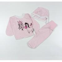 Комплект детский (распашонка, ползунки, чепчик) арт. КЛ.851.007.0.158.012 розовый