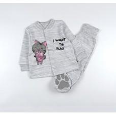 Комплект детский (кофточка, ползунки) арт. КЛ.330.011.0.126.006 серый/розовый
