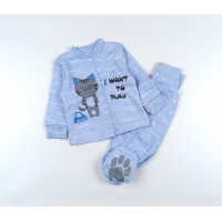 Комплект детский (кофточка, ползунки) арт. КЛ.330.011.0.126.006 голубой