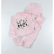 Комплект детский (распашонка, ползунки, чепчик, царапки) арт. КЛ.330.501.0.210.01 розовый