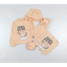 Комплект детский (распашонка, ползунки, чепчик, платочек) арт. КЛ.330.505.0.261.005 персиковый