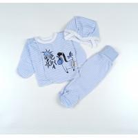 Комплект детский (распашонка, ползунки, чепчик) арт. КЛ.851.007.0.158.012 голубой