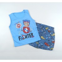 Комплект детский (майка, шорты) арт. PLT0002 голубой