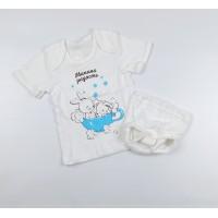 Комплект детский (футболка, трусы на памперс) арт. КМ-1406 белый