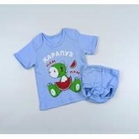 Комплект детский (футболка, трусы на памперс) арт. КМ-1406 голубой