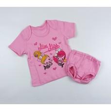 Комплект детский (футболка, трусы на памперс) арт. КМ-1406 розовый