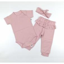 Комплект (боди, штаны, повязка) арт. 9-219 сухая роза
