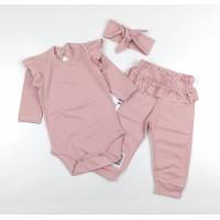 Комплект (боди, штаны, повязка) арт. 31-219 сухая роза