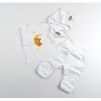 Комплект детский на выписку из роддома (распашонка, ползунки, чепчик) арт. 1-117 белый