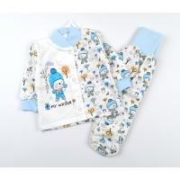 Комплект детский с микроначесом (кофточка, ползунки) арт. MT004 голубой