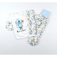 Комплект детский с микроначесом (распашонка, ползунки) арт. MT006 голубой