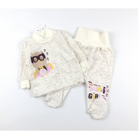 Комплект детский с микроначесом (кофточка, ползунки) арт. CHG005 молочный