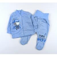 Комплект детский с микроначесом (кофточка, ползунки) арт. CH005 голубой