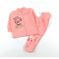 Комплект детский с микроначесом (кофточка, ползунки) арт. CHG005 коралловый