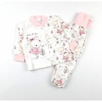 Комплект детский с микроначесом (кофточка, ползунки) арт. MT004 розовый