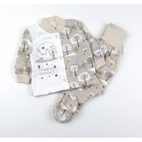 Комплект детский с микроначесом (кофточка, ползунки) арт. MMB006 бежевый