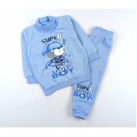 Комплект детский с микроначесом (джемпер, штанишки) арт. CH002 голубой