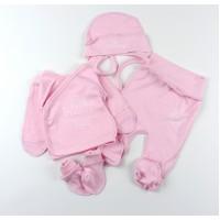 Комплект детский (распашонка, ползунки, чепчик, царапки) арт. КМ-1424 розовый