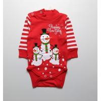 Боди детское арт. ПК-1511 новогодний снеговики