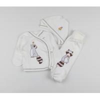 Комплект детский (распашонка, ползунки, чепчик) арт. 11382 белый-2