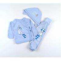 Комплект детский (распашонка, ползунки, чепчик) арт. 11382 голубой-1