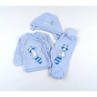 Комплект детский (распашонка, ползунки, чепчик) арт. 11382 голубой-2
