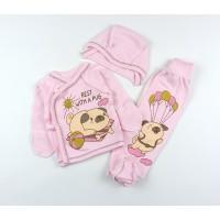 Комплект детский (распашонка, ползунки, чепчик) арт. 9402 розовый