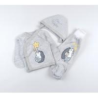 Комплект детский (распашонка, ползунки, чепчик) арт. 11269 серый