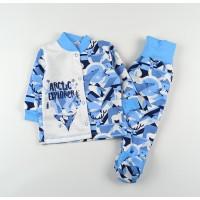 Комплект детский с микроначесом (кофточка, ползунки) арт. ZS0004 голубой
