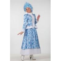 """Карнавальный костюм """"Снегурочка Гжель"""" для взрослых арт.1139"""
