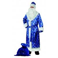 """Карнавальный костюм """"Дед Мороз"""" для взрослых сатин синий арт.188-1 р.54-56"""