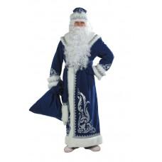 """Карнавальный костюм """"Дед Мороз"""" для взрослых аппликация синий арт.146 р.54-56"""